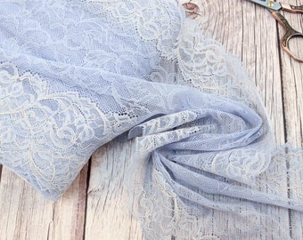 2 meters light blue lace trim wide 21cm embroidery stretch embroidered lace trimming light blue