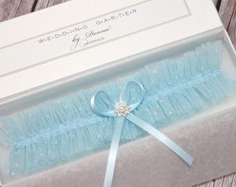 blue tulle garter, something blue for bride, something blue garter, blue wedding garter, blue garter, blue bridal garter, light blue garter