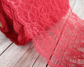 dark red lace trim wide 17cm embroidery non stretch embroidered lace trimming dark red