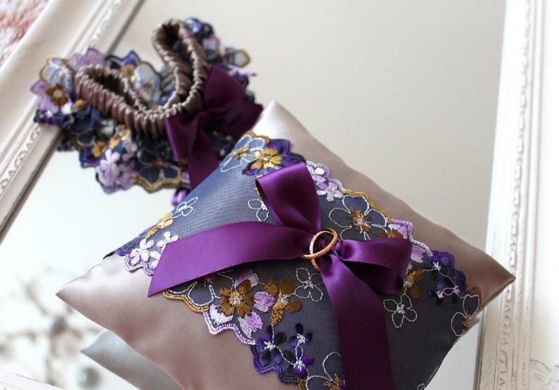 purple wedding ring pillow purple wedding ring bearer pillow plum lace wedding ring bearer pillow plum and gray silk wedding ring pillow