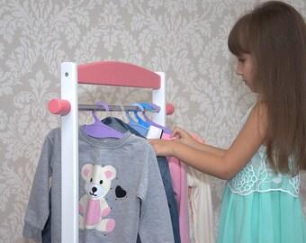 Kids Clothing Rack, Childrenu0027s Clothing Rack, Wood Clothing Rack, Wooden  Clothes Rack, Mini Kids Clothes Rack, Dress Up Storage Rack