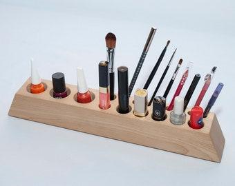 Beech Wood Makeup Desk Organizer, Wood Cosmetic Organizer, Makeup Brush Holder, Desk Accessories for Women, Accessories Rack, Gift for Women