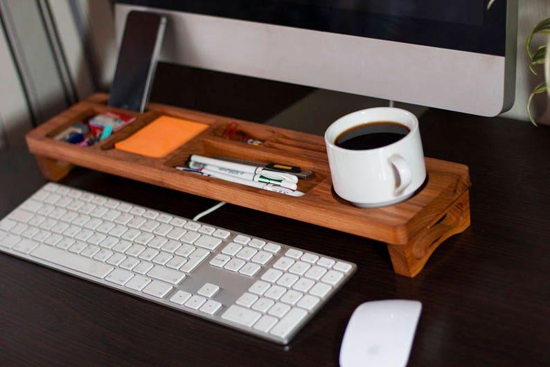 Organisateur de bureau bois berest accessoires de bureau etsy