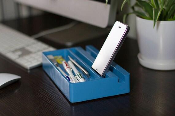 Bleu brillant couleur peinture bois bureau organisateur mini