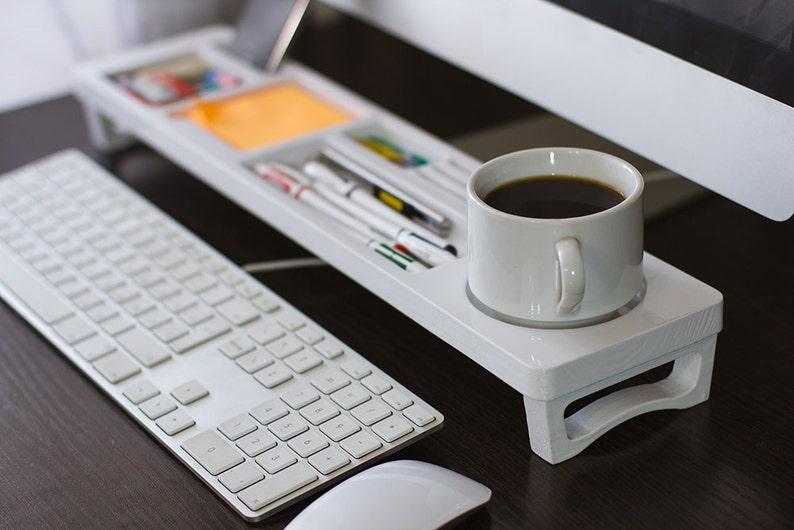 White Wood Desk Organizer Desk Accessories Office Desk Etsy