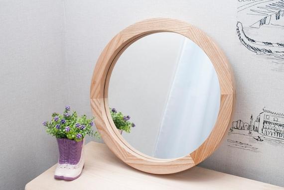 Round Wood Mirror Decorative Wall, Round Mirror Wall Decor Wood