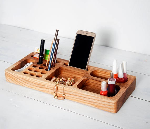 esche holz make up schreibtisch organizer kosmetik etsy. Black Bedroom Furniture Sets. Home Design Ideas