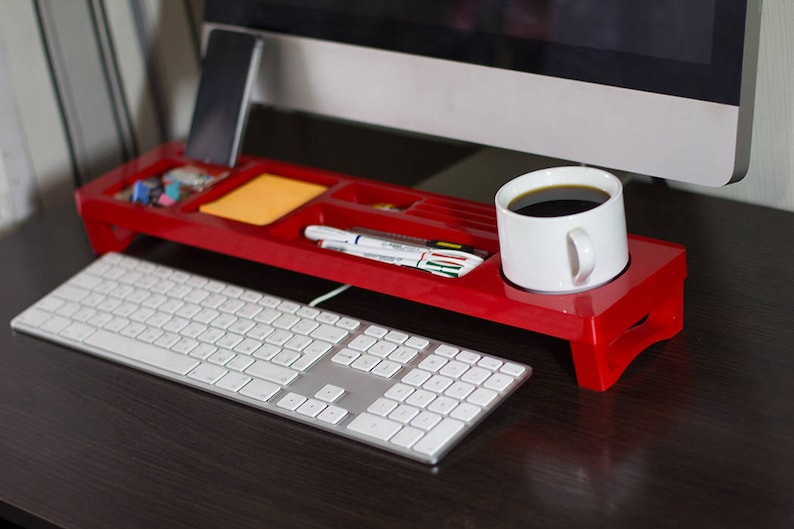 Organisateur de bureau bois rouge accessoires de bureau etsy
