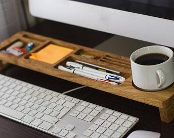 Oak Wood Desk Organizer, Home Desk Accessories, Personalized Gift, Office Desk Decor, Docking Station, Tea or Coffee Cup Set, Unique Gift