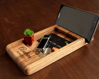 35th Birthday Gift Ideas For Him Men Husband From Wife Unique Gifts Desk OrganizerWooden Phone Stand