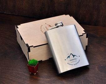 Personalized Flask 8oz Birthday Gift For Him Groomsmen Engraved Boyfriend Hip Men Box