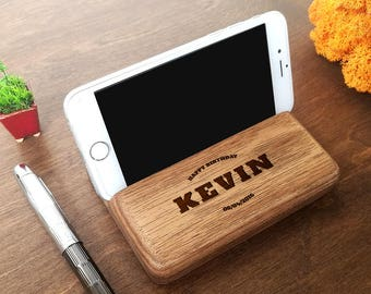 Gifts For Boyfriend Birthday Personalized Gift Men Him Christmas Docking Station Wood Phone Stand
