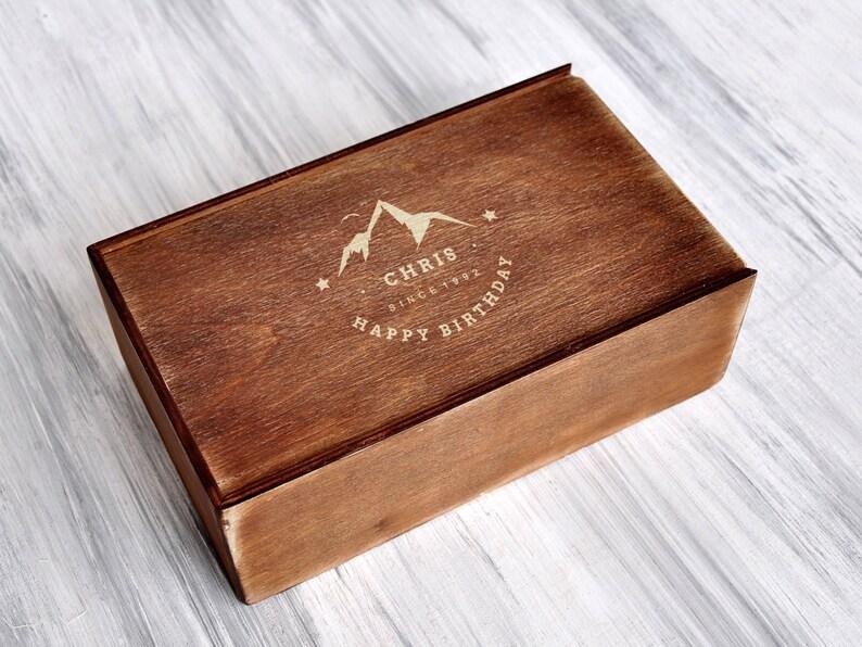 b1856c28f15c2 Birthday Box for Him Personalized Gift Box Mens Birthday Gift Set Custom  Gift Boxes Birthday Present Boyfriend Gift Ideas Custom Wood Box