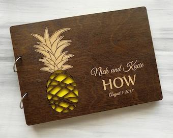 Pineapple Wedding Guest Book Hawaii Wedding Guestbook Tropical Wedding Guest Book Beach Wedding Guest Book Personalized Wedding Guest Book