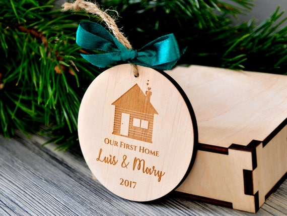 Our First Home Christmas Ornament.Our First Home Christmas Ornaments Personalized Christmas Gifts Housewarming Holiday Our First House Ornament First Christmas New House Gift