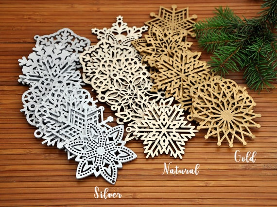 Wooden Snowflake Ornaments Wood Christmas Decorations Snowflakes Christmas Tree Ornaments Christmas Gift Christmas Ornament Set 8 24