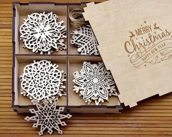 Wooden Snowflake Ornaments, Wood Christmas Decorations, Snowflakes, Christmas tree ornaments, Christmas Gift, Christmas Ornament, Set 8-24