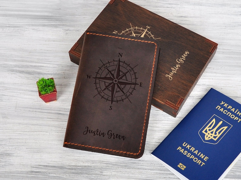 771cee1302c3 Leather Travel Wallet Passport Holder Custom Men Gifts Ideas Passport Cover  Compass Wanderlust Gift for Him Nautical Gift Document Wallet