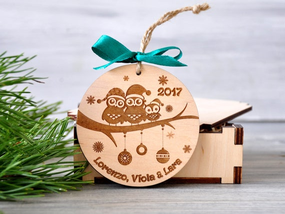 Christmas Gifts For Families.Personalized Christmas Ornaments Family Of 3 Owls Engraved Christmas Ornament Owls Christmas Gifts Custom Wooden Ornament Holiday Gift 2018