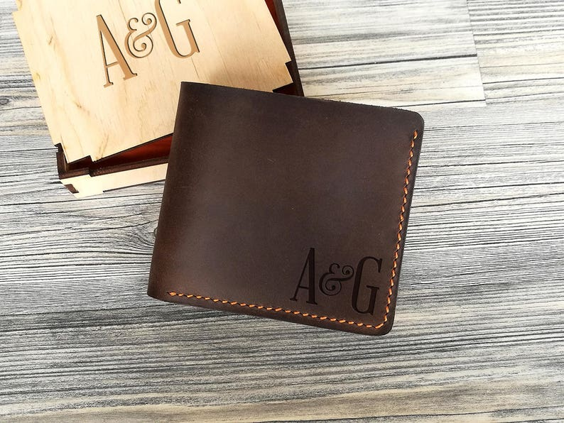9667fa1d626a Anniversary Gifts for Men Leather Wallet Mens Personalized