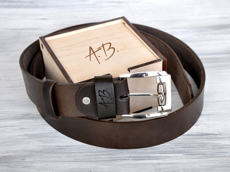aa2c248ea58d Personalized Leather Belt Engagement Gift for Him 3rd