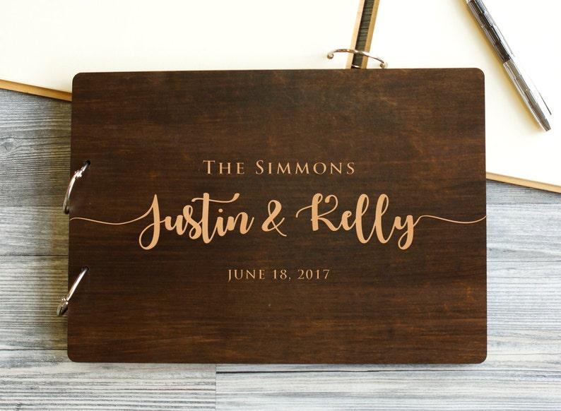 "Wedding Guest Book Rustic Guestbook Wood Guest Book Custom 8x12"" Palisander"