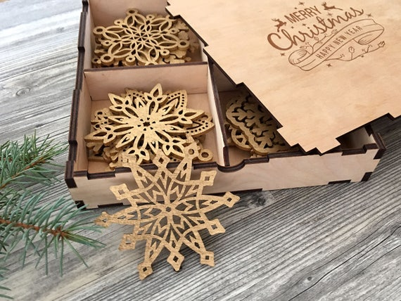 50 - Wood Christmas Decorations Snowflake Ornament Christmas Tree Etsy