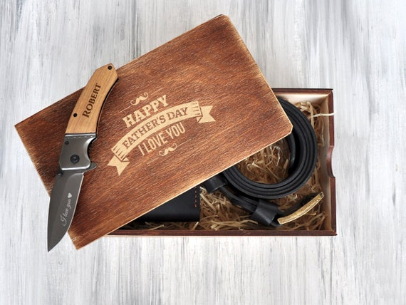 Fathers Day Gift Set Custom Gift Box Personalized Gift Ideas Father of the Groom Gift Box Engraved Pocket Knife Happy Birthday Gift for Him