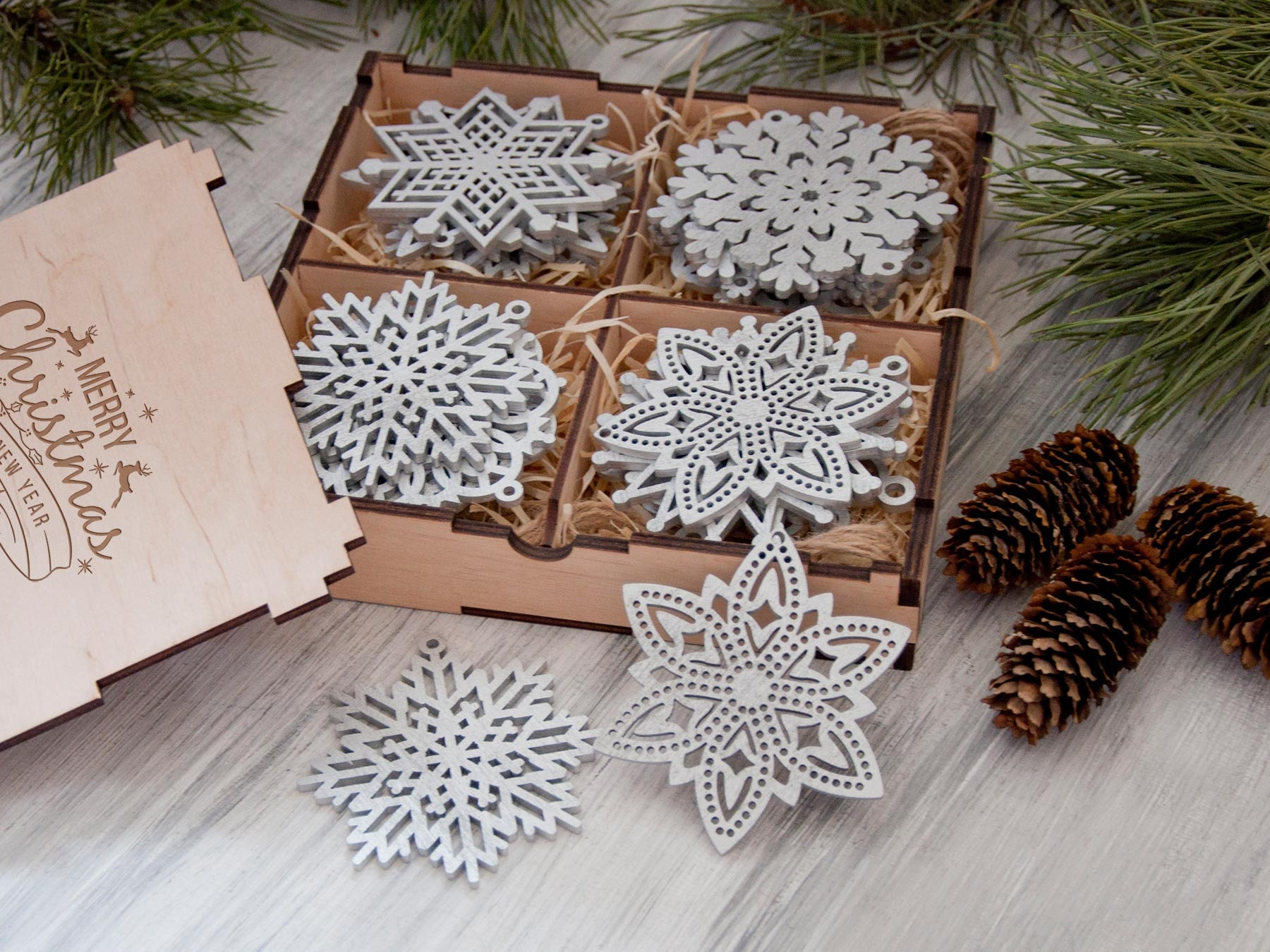 2 4 Days to USA Christmas Ornaments Wooden Snowflake Ornaments