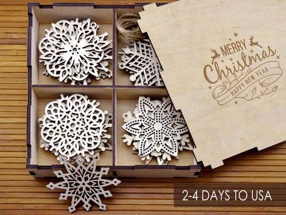 Wood Christmas Decorations.Wooden Snowflake Ornaments Wood Christmas Decorations Snowflakes Christmas Tree Ornaments Christmas Gift Christmas Ornament Set 8 24