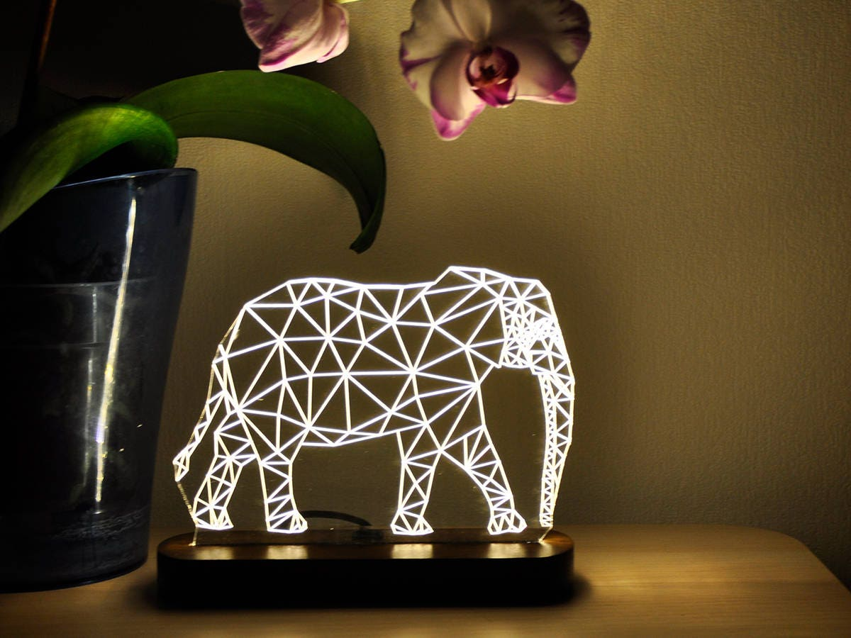 zoom LED Night Light Elephant 3D Night