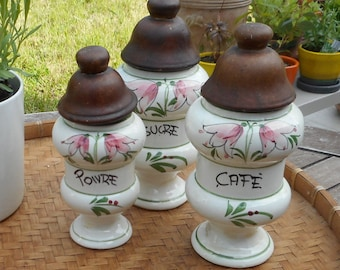 Spice jars, pepper, sugar, earthenware, 60s; french vintage