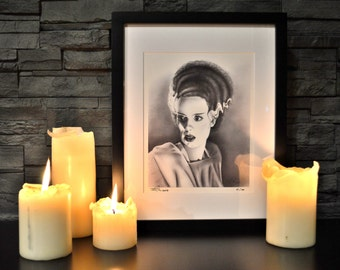 """Bride of Frankenstein, Classic Horror Monsters, Limited Edition Print, 8"""" x 10"""", signed and numbered, Art, Drawing, Illustration, HALLOWEEN"""