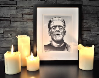 """Frankenstein, Classic Horror Monsters, Limited Edition Print, 8"""" x 10"""", signed and numbered, Art, Artwork, Drawing, Illustration, HALLOWEEN"""