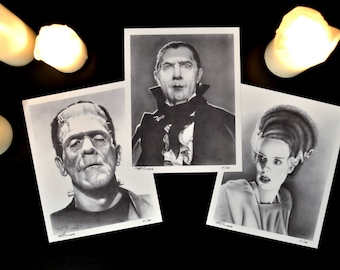 """Complete Set of 3 of Classic Horror Monsters: Dracula, Frankenstein and the Bride, Limited Edition Prints, 8"""" x 10"""", signed and numbered"""