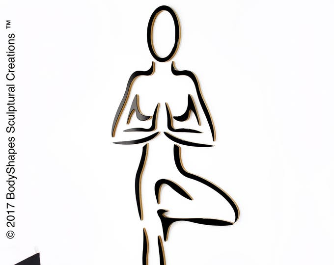 TREE POSE: Life Sized Yoga Tree Pose Sculpture, wall mounted, wood, human form