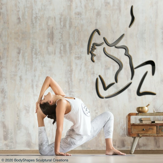 KING PIGEON: Life Sized Yoga Sculpture, King Pigeon pose, wall mounted, wood, human form