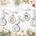 Floral Monogram Ornamenet - Vintage Style hoop ornament - personalized ornamnet
