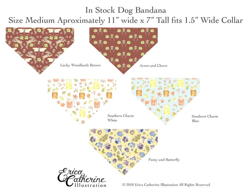 Doggie Bandanas In Stock Ready to Ship Pattern Cute Design Illustration Watercolor Hand Made Pet Accessories cute pets fancy