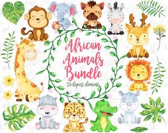 African animals Clipart, watercolor animal, animals buddies, friendly animal, animal nursery decor, African animal baby, charismas clipart