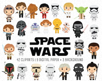 Space wars Clip art Bundle, Space Wars sticker, space character cartoon, Space wars party, space clipart -  Christmas clipart