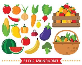 Fruit clip art set2, farm fruit vegetable graphic, Fruit party, fruit sticker invitation, apple sticker, digital clipart, charismas clipart