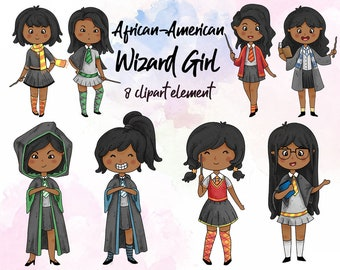 African american Wizard girl clip art, illustration, black haired cute girl sticker, beautiful girl clipart, Instant Download PNG 300dpi