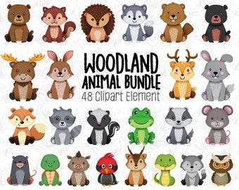 Woodland animals Clipart, Forest Friends, animal buddies, woodland nursery decor, woodland animal baby, woodland baby shower