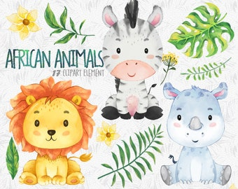 African animals Clipart set 1, watercolor animal sticker, Lion sticker, African animals print, nursery décor, animal baby