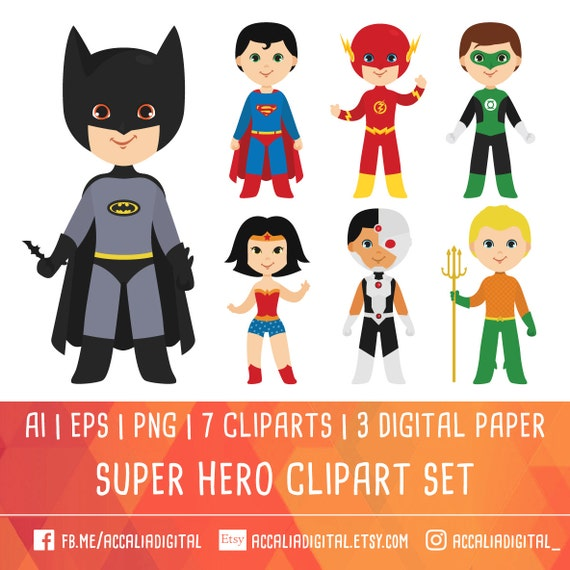 super hero clipart justice league clipart team superhero rh etsy com Justice League Checks Justice League Clip Art Black and White