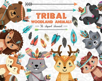 Tribal Animals Clipart, Tribal Woodland animals Clipart set 1, Fox, woodland animal baby, nursery decor, boho clip art,  Christmas clipart