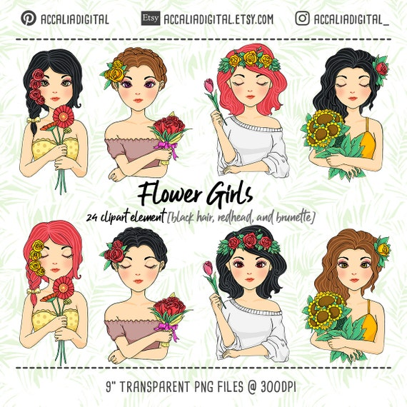 Black Haired Flower Girl Clip Art Girls Illustration Cute Brunette Girl Cartoon Beautiful Girl Sticker Digital Clipart Redhead Sticker