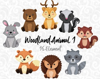 Woodland animals Clipart, Raccoon, Forest Friends sticker, animal buddies, friendly animal, woodland baby shower