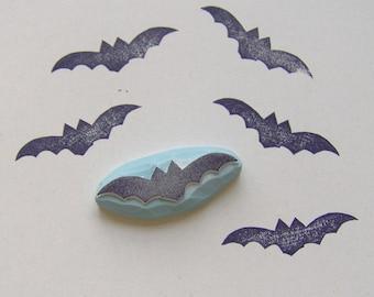 Bat Stamp Hand Carved Rubber Halloween Bats Craft Ink Scrapbooking